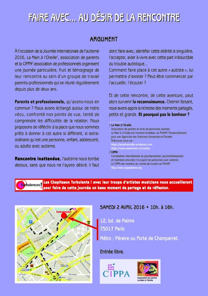 JOURNEE INTERNATIONALE DE L'AUTISME SAMEDI 2 AVRIL 2016 • 10h. à 16h.