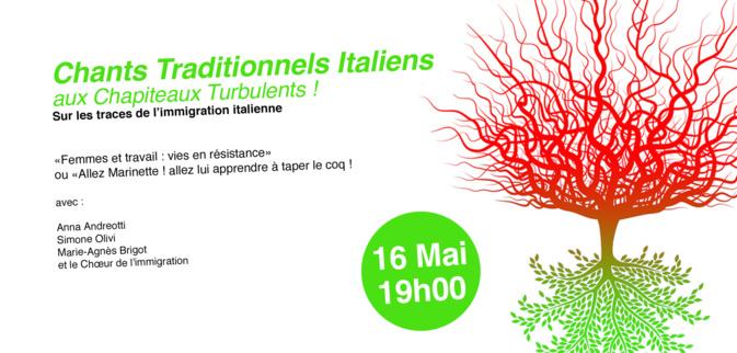 Soirée italienne aux Chapiteaux Turbulents ! 16 mai 2016 à 19h