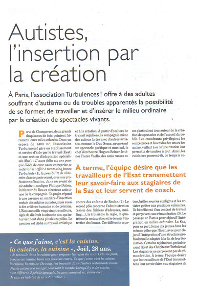 Autisme, l'insertion par la création - Katia Rouff - Lien Social 9 octobre 2008 - N° 900