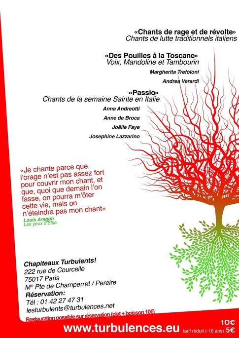 Lundi 13 Juin à 19h00 Chants traditionnels Italiens aux Chapiteaux Turbulents !