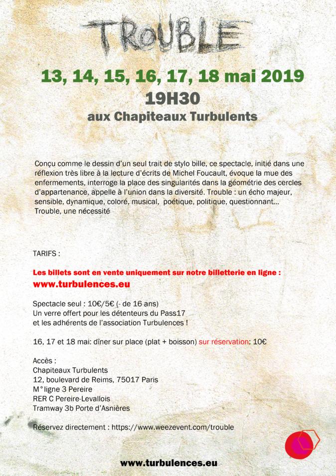 TROUBLE du 13 au 18 MAI 2019 à 19h30