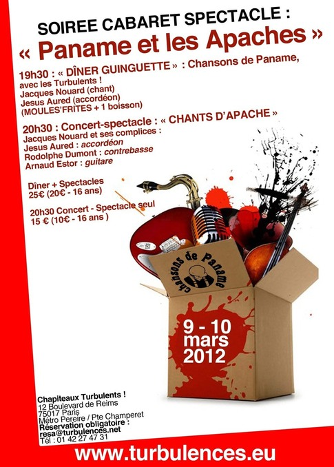 """9 et 10 mars à 19h30 - Soirée cabaret spectacle """" Paname et les Apaches """""""