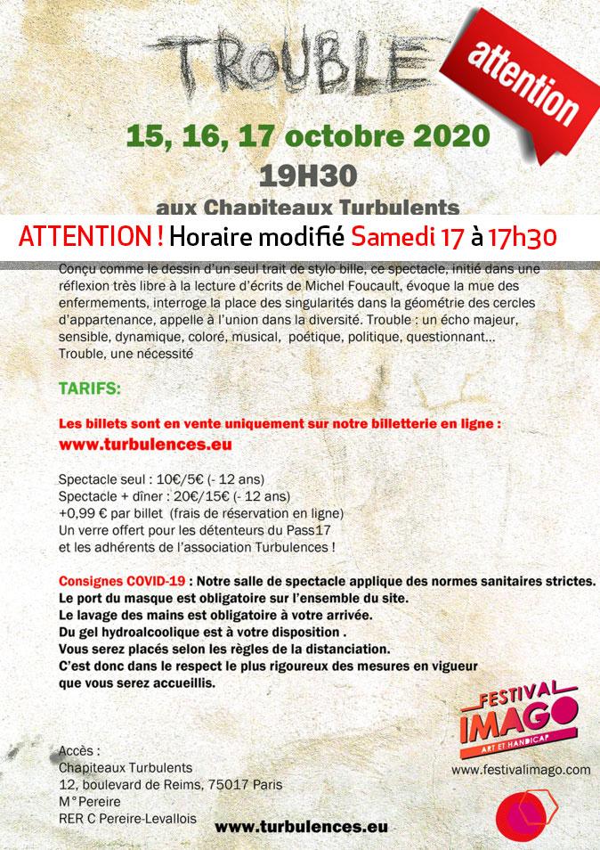 TROUBLE au Festival Imago Art et Handicap les 15, 16, octobre 2020 à 19h30 et le samedi 17 à 17h30)