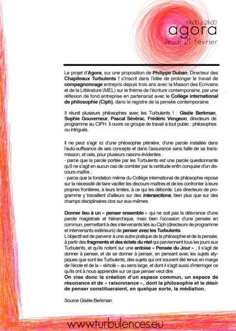 Agora le Jeudi 21 Février 2013 de 19h à 21h