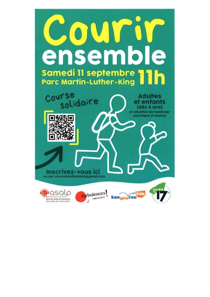 Courir ensemble Samedi 11 sept. Parc Martin-Luther-King