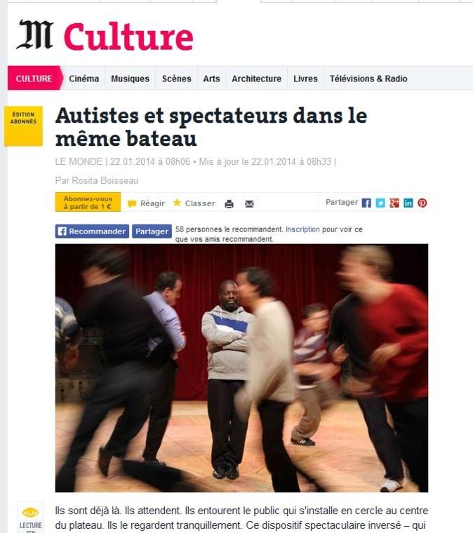 Autistes et spectateurs dans le même bateau  LE MONDE le 22.01.2014