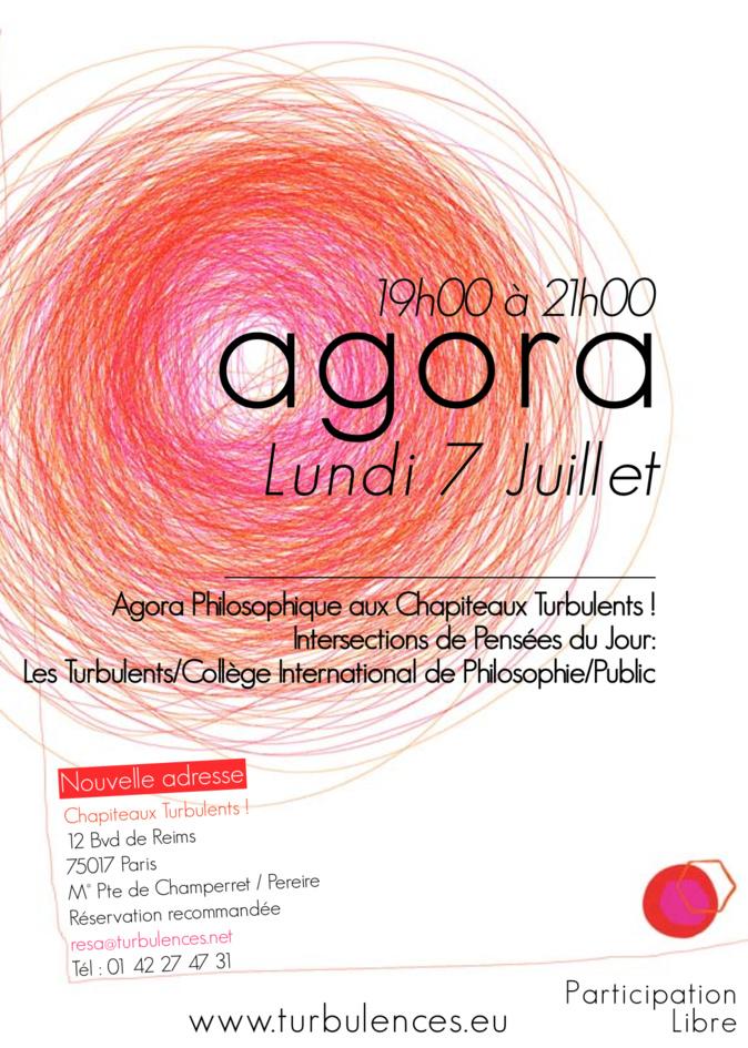 Agora philosophique le 7 juillet de 19h à 21h