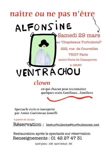 Naître ou ne pas n'être - Alfonsine Ventrachou - Clown - Le 29 mars à 19h30