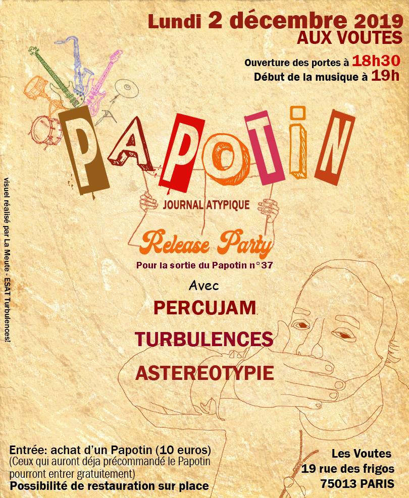 LE PAPOTIN fête sa 30ème année, le 2 décembre, à partir de 18h30 aux Voutes à Paris
